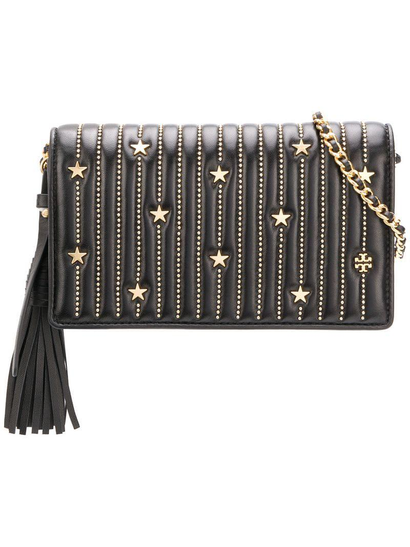 1fba8fd0d567 Lyst - Tory Burch Fleming Star-stud Wallet Crossbody in Black