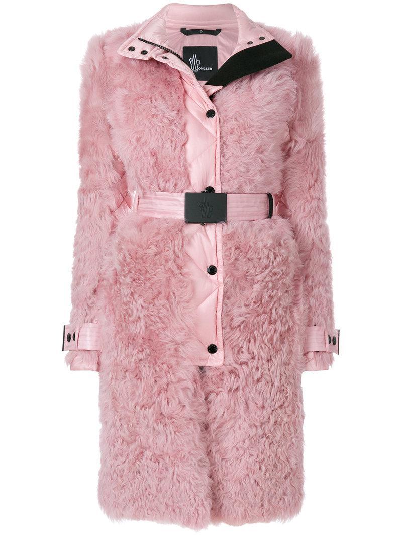 d2b68adae Lyst - Moncler Grenoble Shell Trim Shealing Coat in Pink