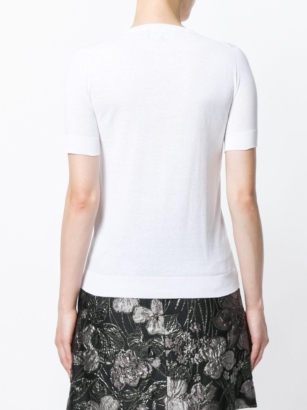 b2ada6970884c Lyst - Rochas Dragonfly-embellished Top in White