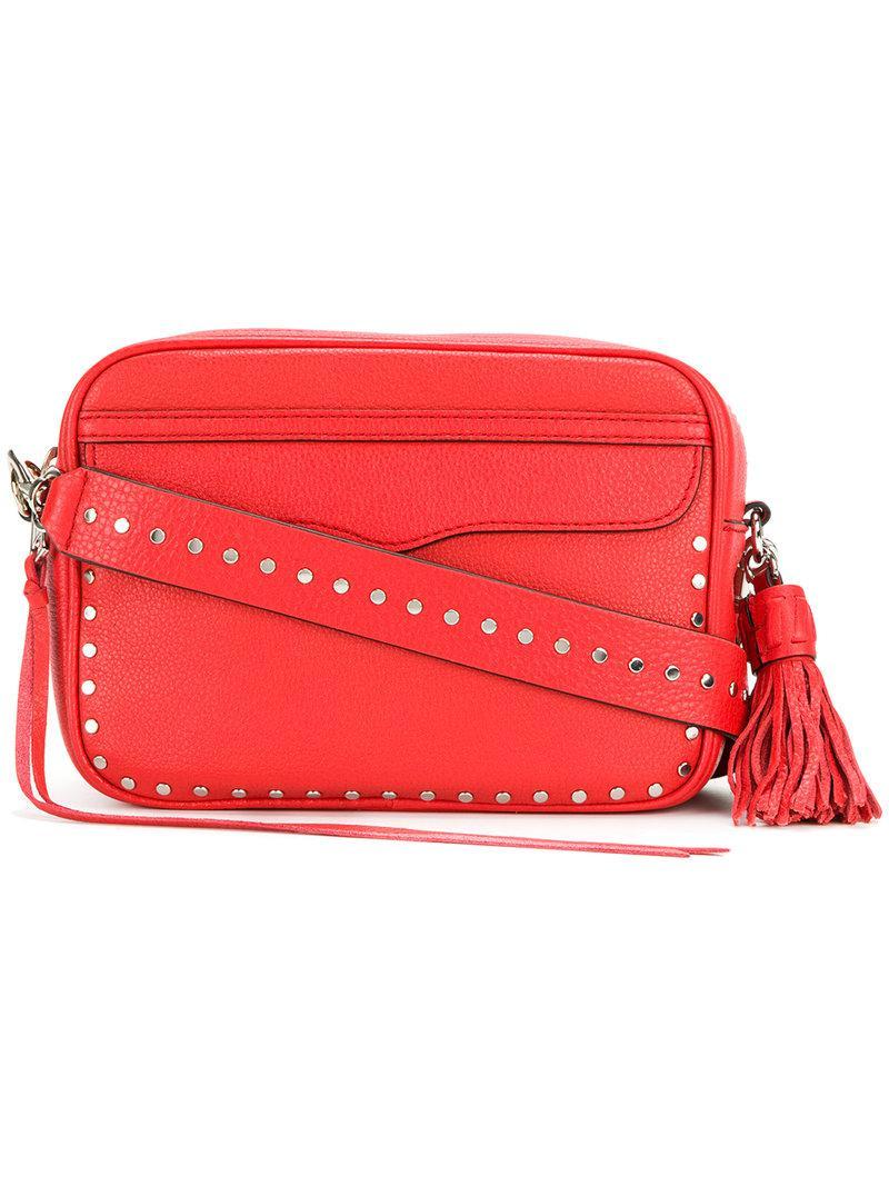 Lyst - Rebecca Minkoff Studded Shoulder Bag in Red f51b91fd4b93c