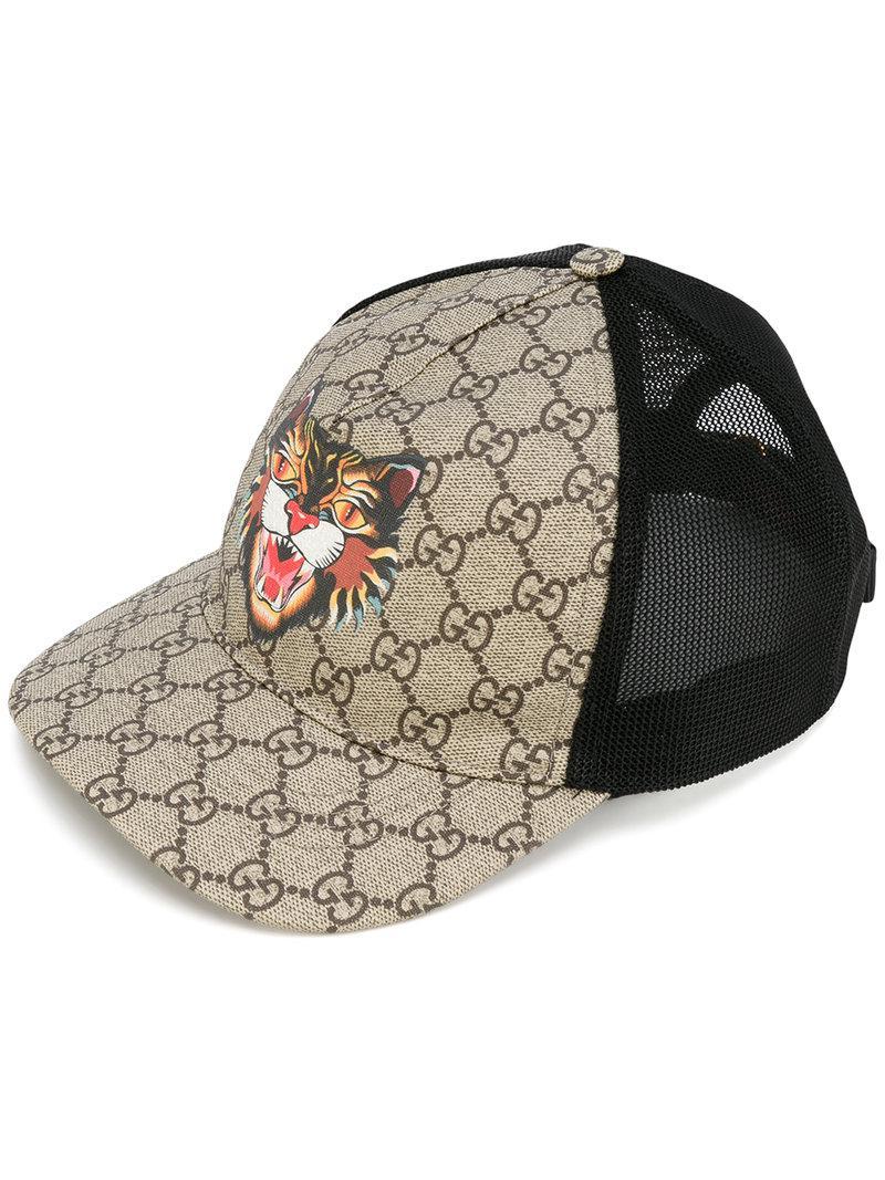 0fb3d582cda8a Gucci Cat Print Gg Supreme Baseball Hat in Black for Men - Lyst