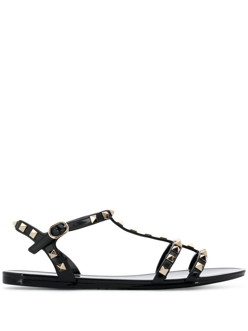 07fa69f80d14 Lyst - Valentino Garavani Rubber Rockstud Sandals in Black