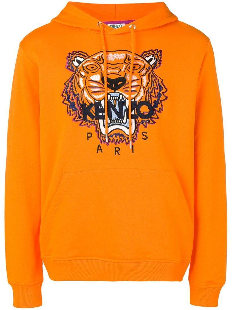 a4315a9d KENZO - Orange Tiger Print Hoodie for Men - Lyst. View fullscreen