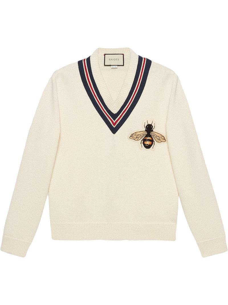 4d030d0bdda7 Lyst - Pull en laine avec abeille appliquée Gucci pour homme en ...