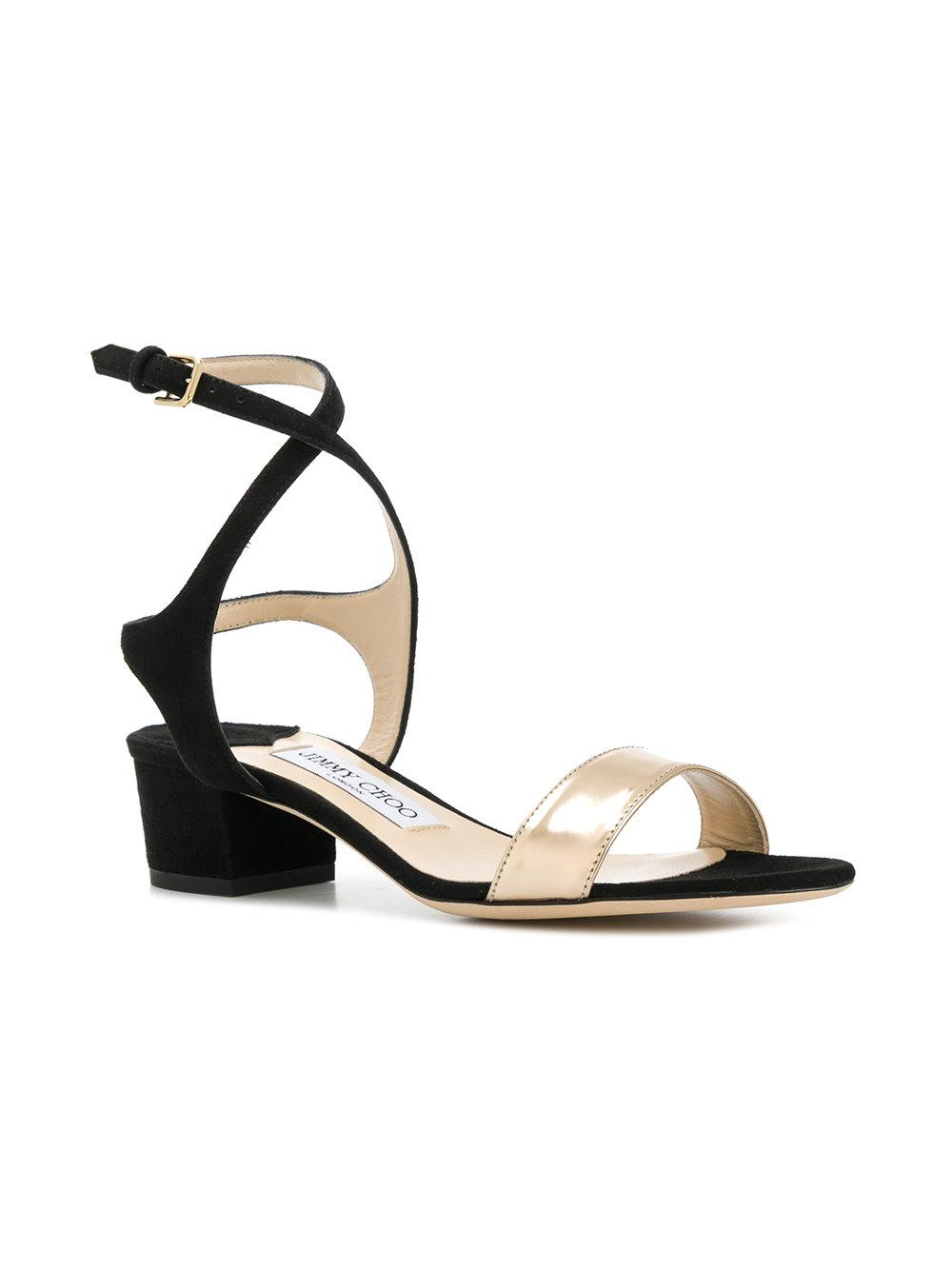 Marine 35 Suede And Metallic Leather Sandals - Black Jimmy Choo London 6ZkIVY