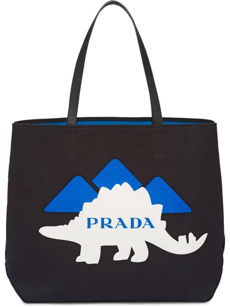 e51a98db8c27 Prada Printed Canvas Tote in Black for Men - Lyst