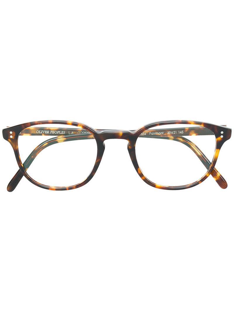 f1c2bbaf734 Oliver Peoples Fairmont Square Frame Glasses in Brown - Lyst