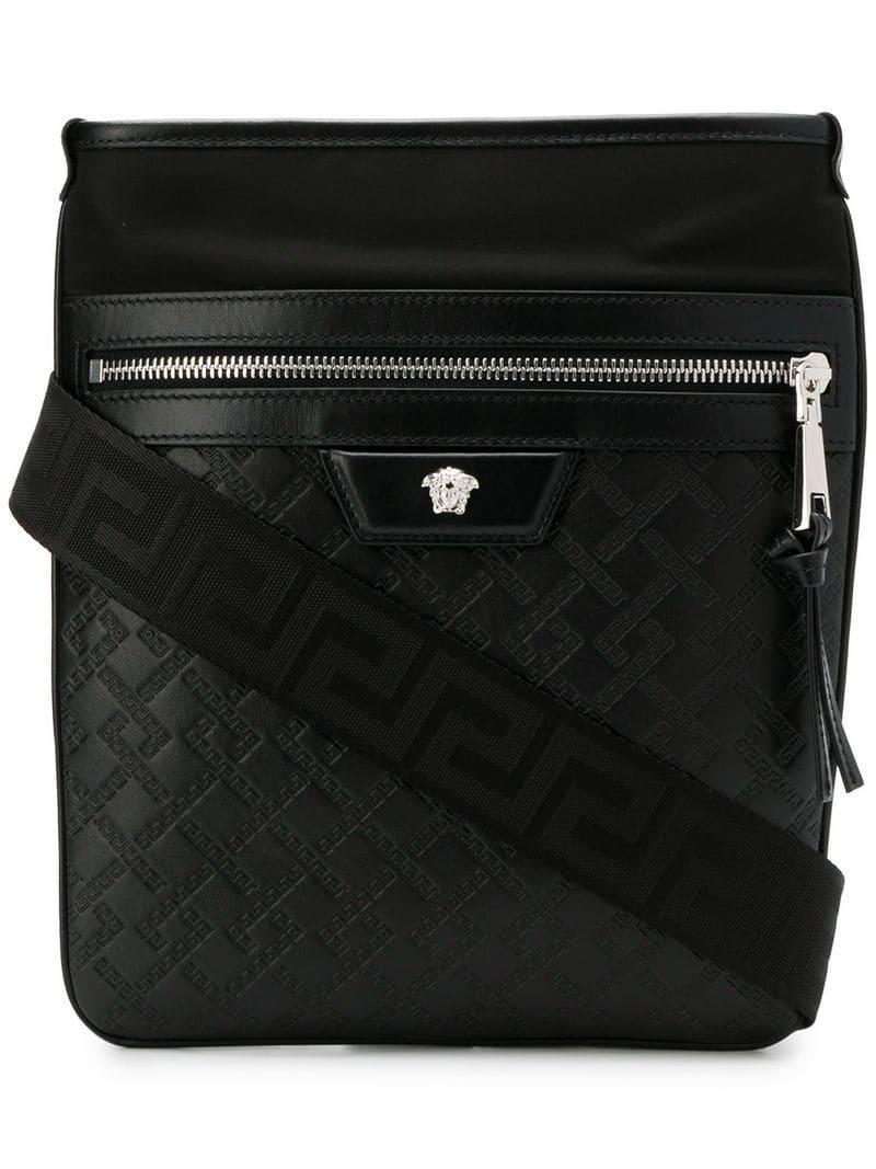 af59e2cca9c Versace Medusa Zipped Messenger Bag in Black for Men - Lyst