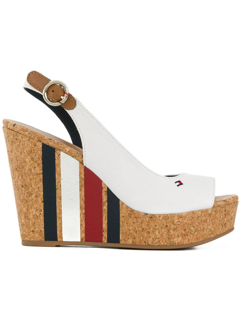 1858144caffb Tommy Hilfiger Striped Wedge Heel Sandals in White - Lyst