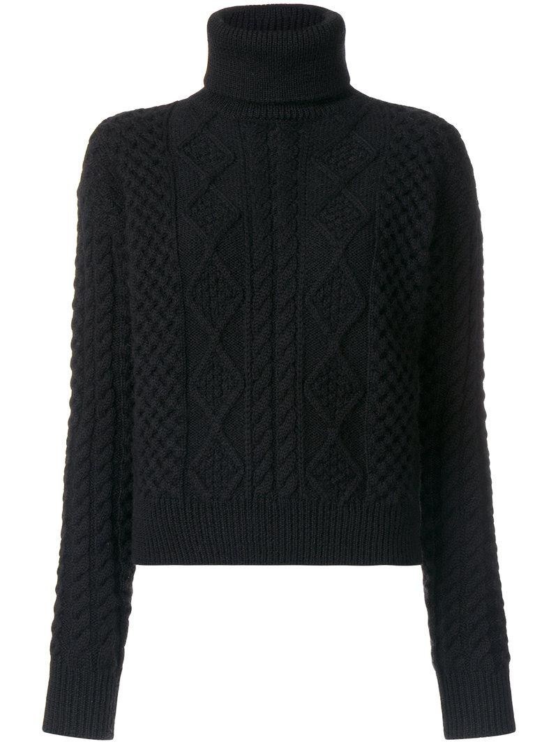 Saint laurent Cable Knit Turtleneck Sweater in Black | Lyst