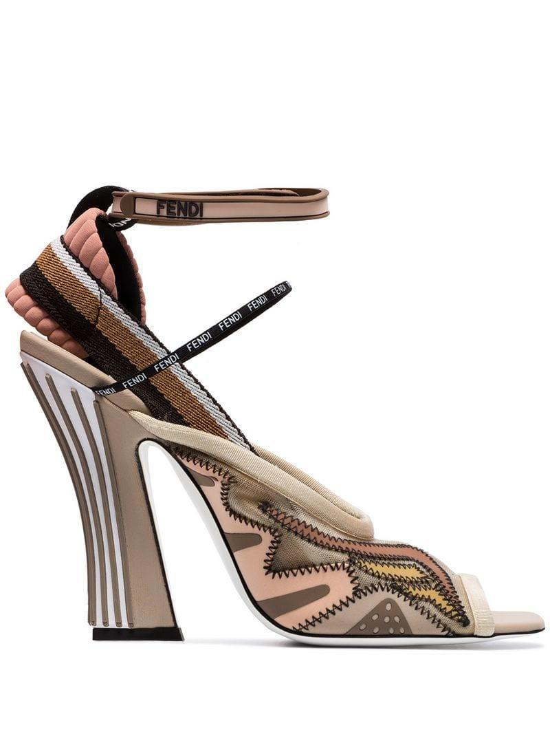 Lyst - Fendi 105 Mesh Slingback Sandals 8b7920f9506