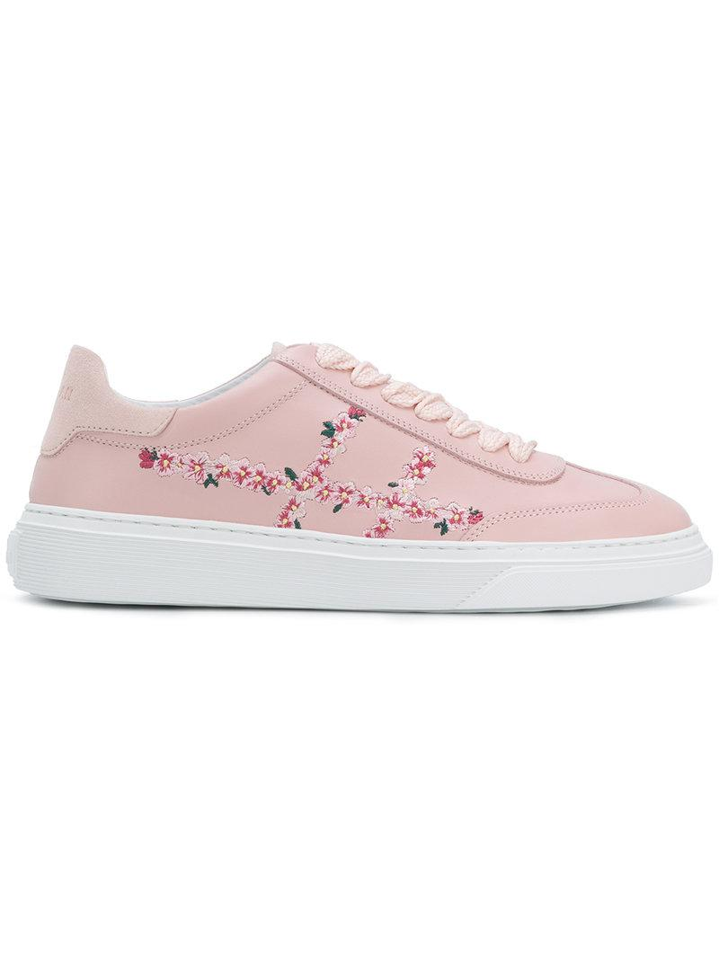 Hogan Flower embroidered sneakers DHccH6W