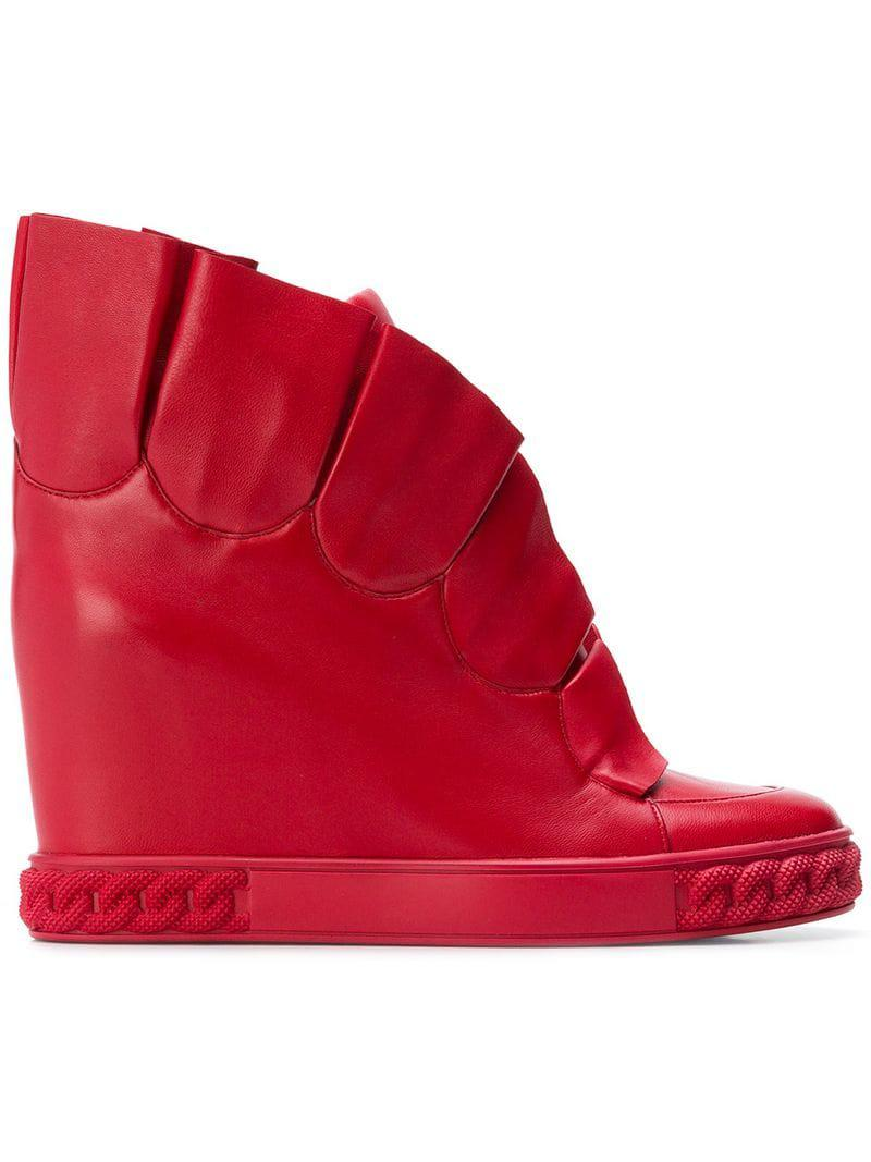 ca894a5766b Lyst - Casadei Pleated Wedge Sneakers in Red