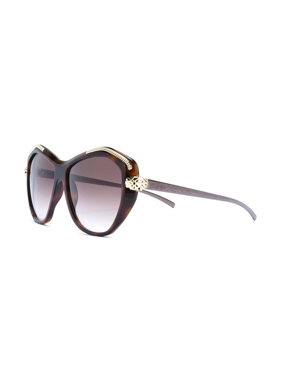 4c7c5221a7a9 Cartier  panthère Wild  Sunglasses in Brown - Lyst