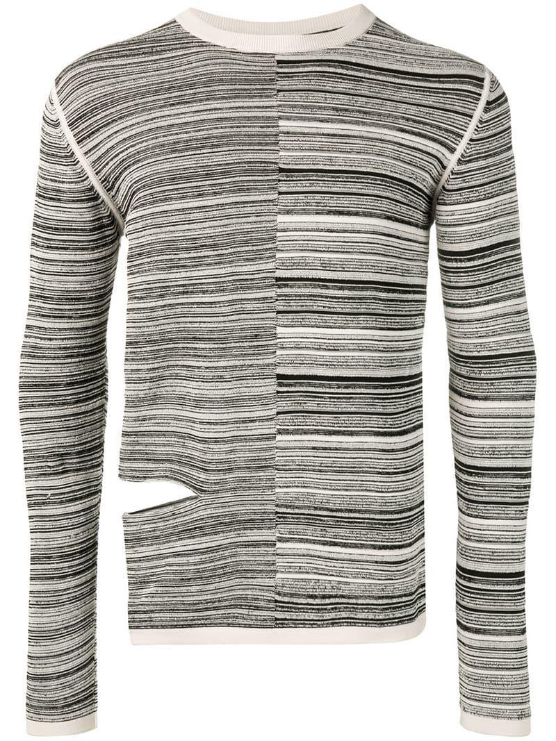 8a847ce4b90b Lyst - Rick Owens Cut-out Striped Jumper in Black for Men