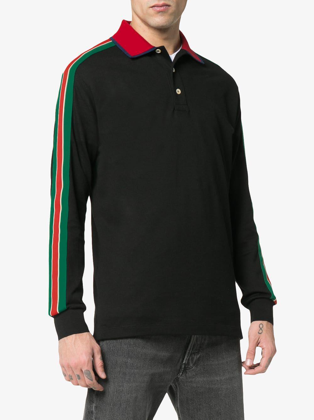 01347e2e Gucci - Black Logo Stripe Polo Shirt for Men - Lyst. View fullscreen