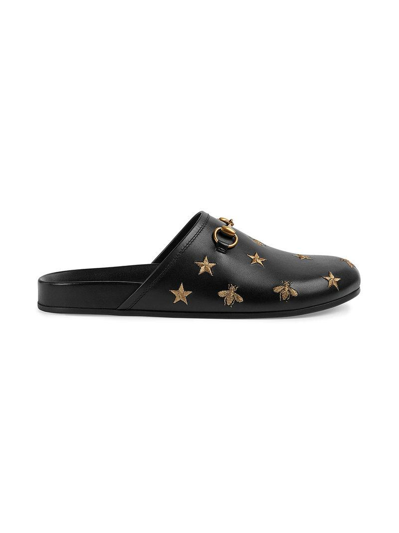 0ac21eb650b Lyst - Gucci Horsebit Embroidered Leather Slipper in Black for Men