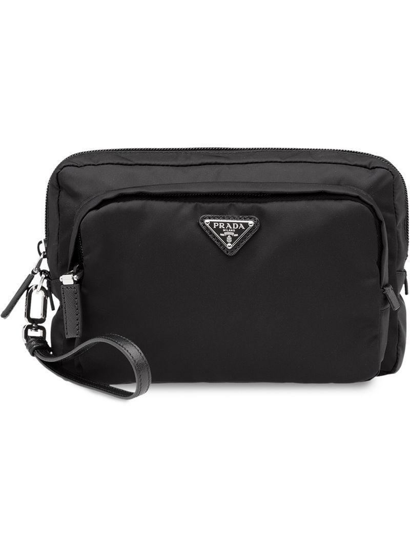 155a960c6fe Prada - Black Nylon Pouch for Men - Lyst. View fullscreen