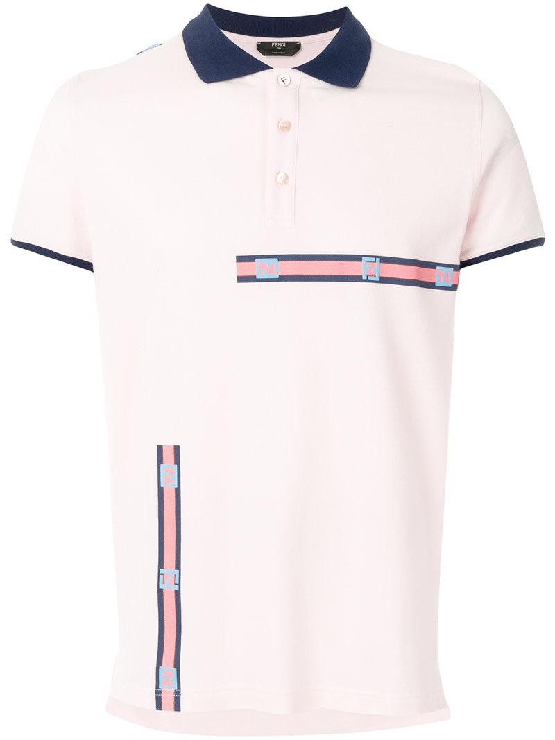 f4fb9f76288 Lyst - Fendi Tape Polo Shirt in Pink for Men