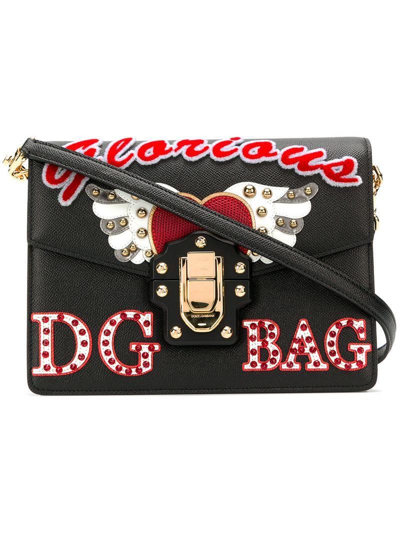 d6b140bfe2c1 Lyst - Dolce   Gabbana Lucia Embellished Shoulder Bag in Black