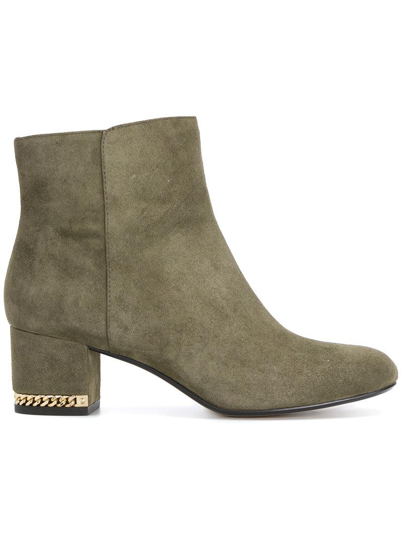 Lyst - Michael Michael Kors Chain Block Heel Ankle Boots In Green