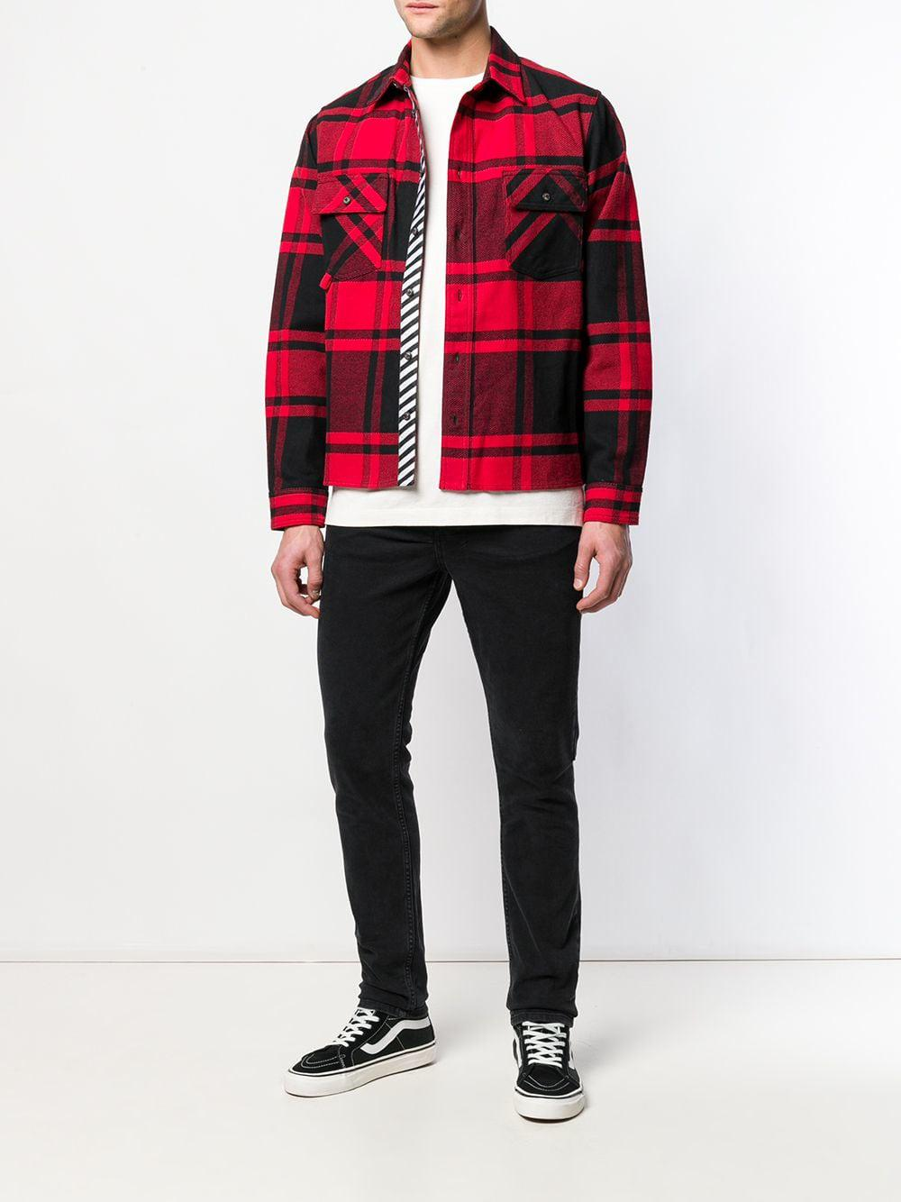255b7210966 Lyst - Off-White c o Virgil Abloh Stencil Diagonals Checked Flannel Shirt  in Red for Men - Save 13%