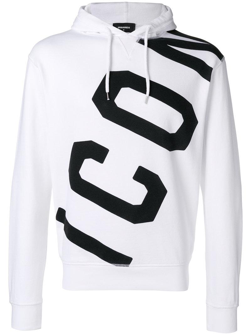 79f1bc33d3d5 DSquared² Icon Logo Printed Hoodie in White for Men - Lyst