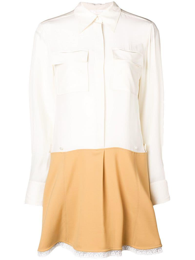 ea81020ac1661 Chloé Contrast Flared Shirt Dress in White - Lyst