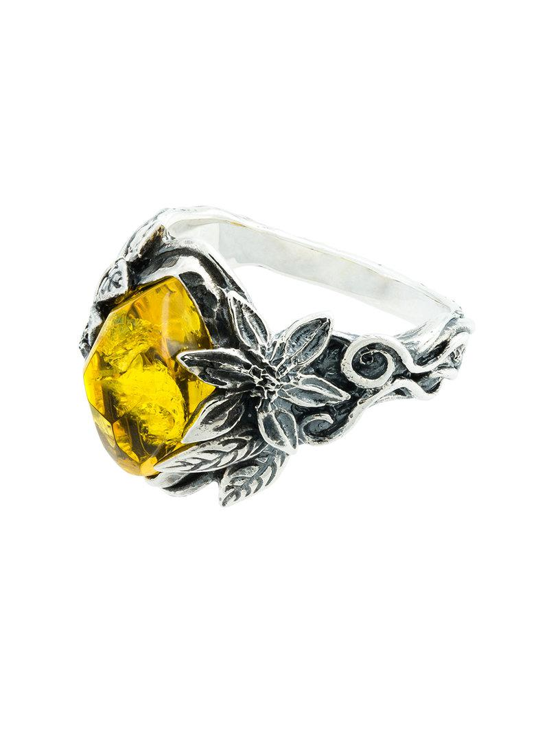 Lyly Erlandsson yellow Winter leaf engraved ring QzlPE