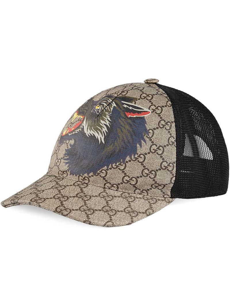 62ecb67037e Gucci GG Supreme Wolf Baseball Cap for Men - Lyst