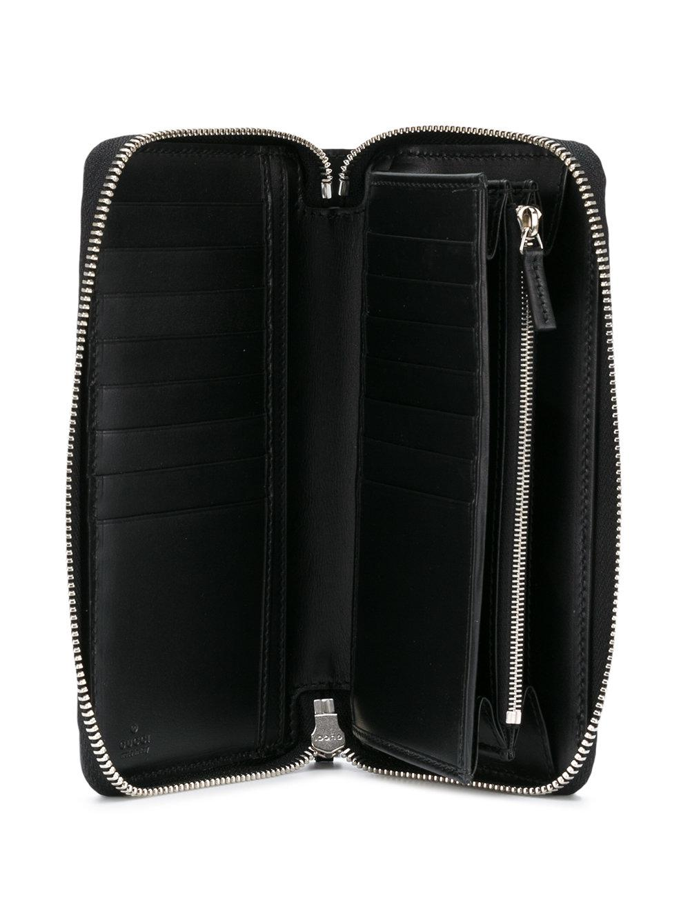 ef8b39832cd Gucci Signature Web Zip-around Wallet in Black for Men - Lyst