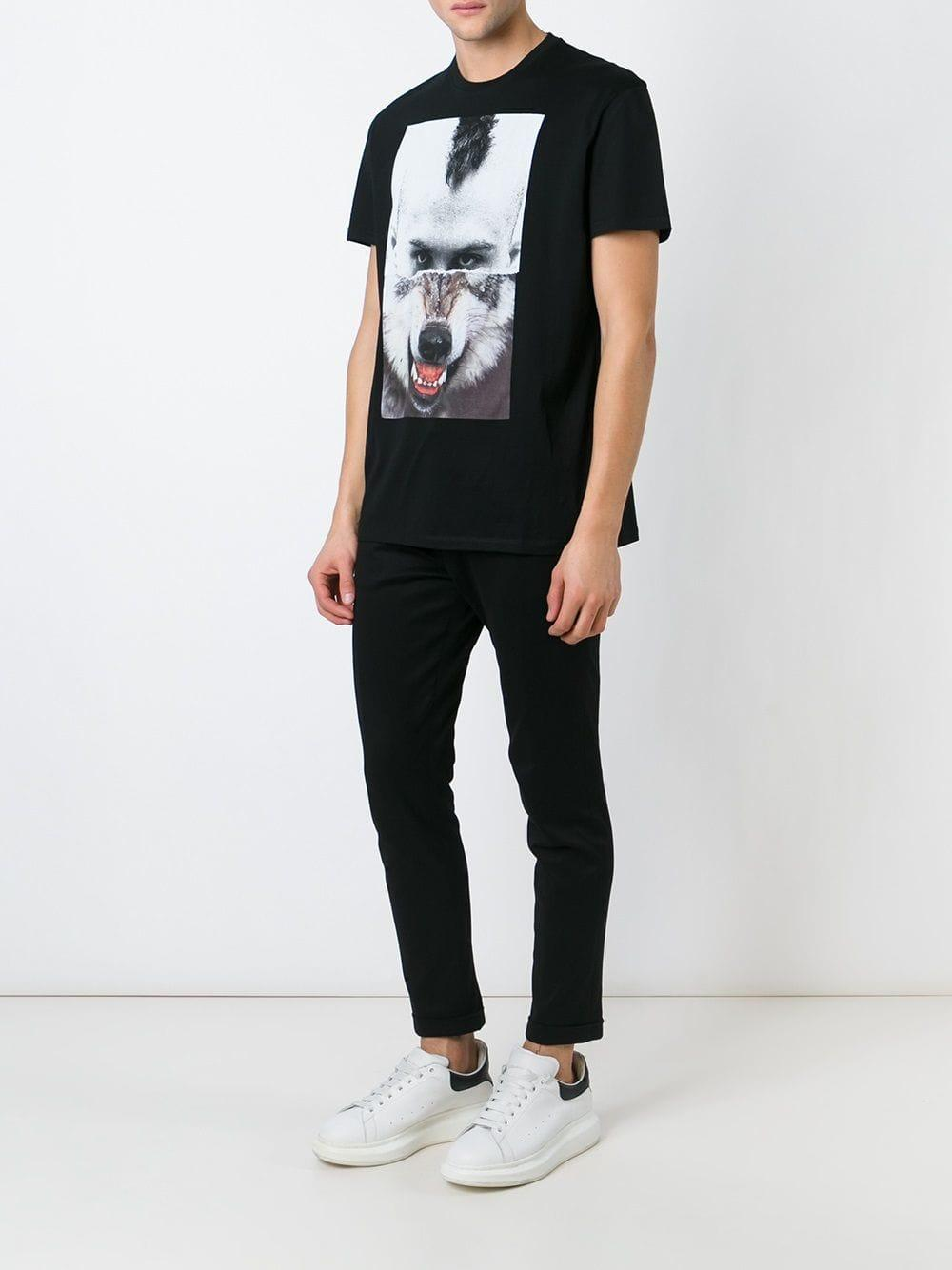 46061c09cc14a Lyst - Camiseta con retrato dividido Neil Barrett de hombre de color ...