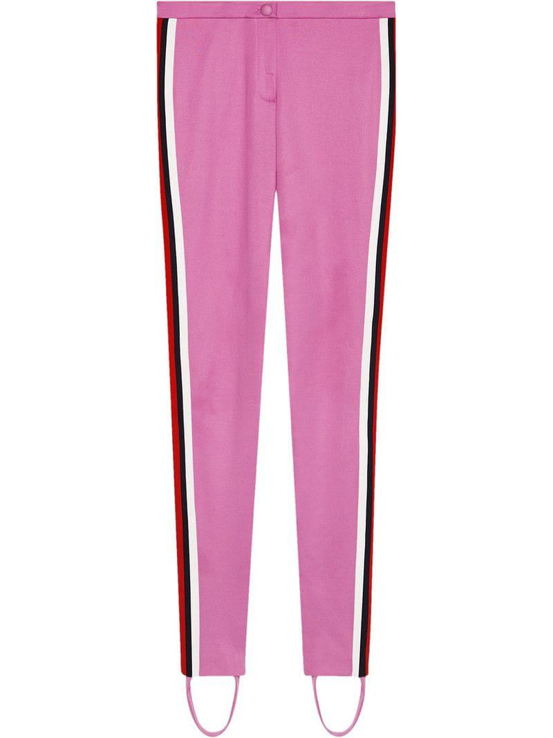 0835d92feec Lyst - Gucci Jersey Stirrup leggings With Web in Pink