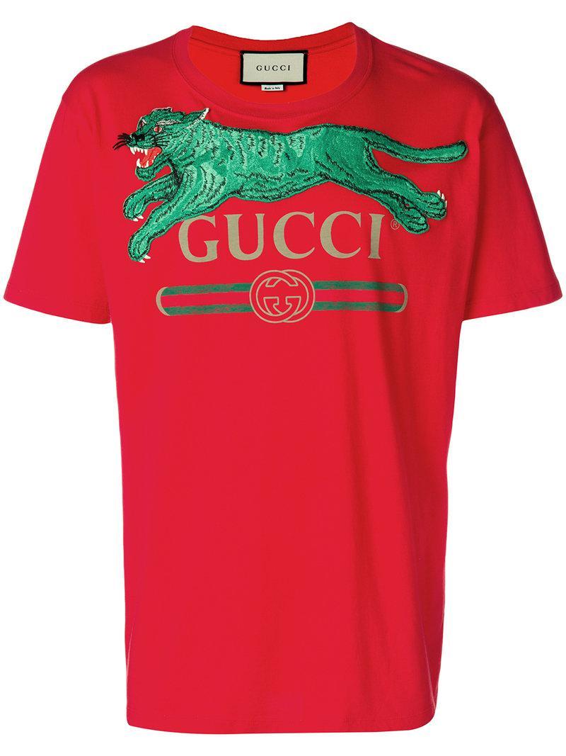 Lyst - Camiseta con logo y tigre Gucci de hombre de color Rojo 6a28b15bd2a