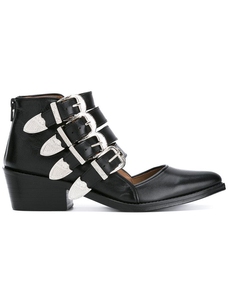 Lyst Toga Pulla Buckle Strap Cut Out Ankle Boots In Black