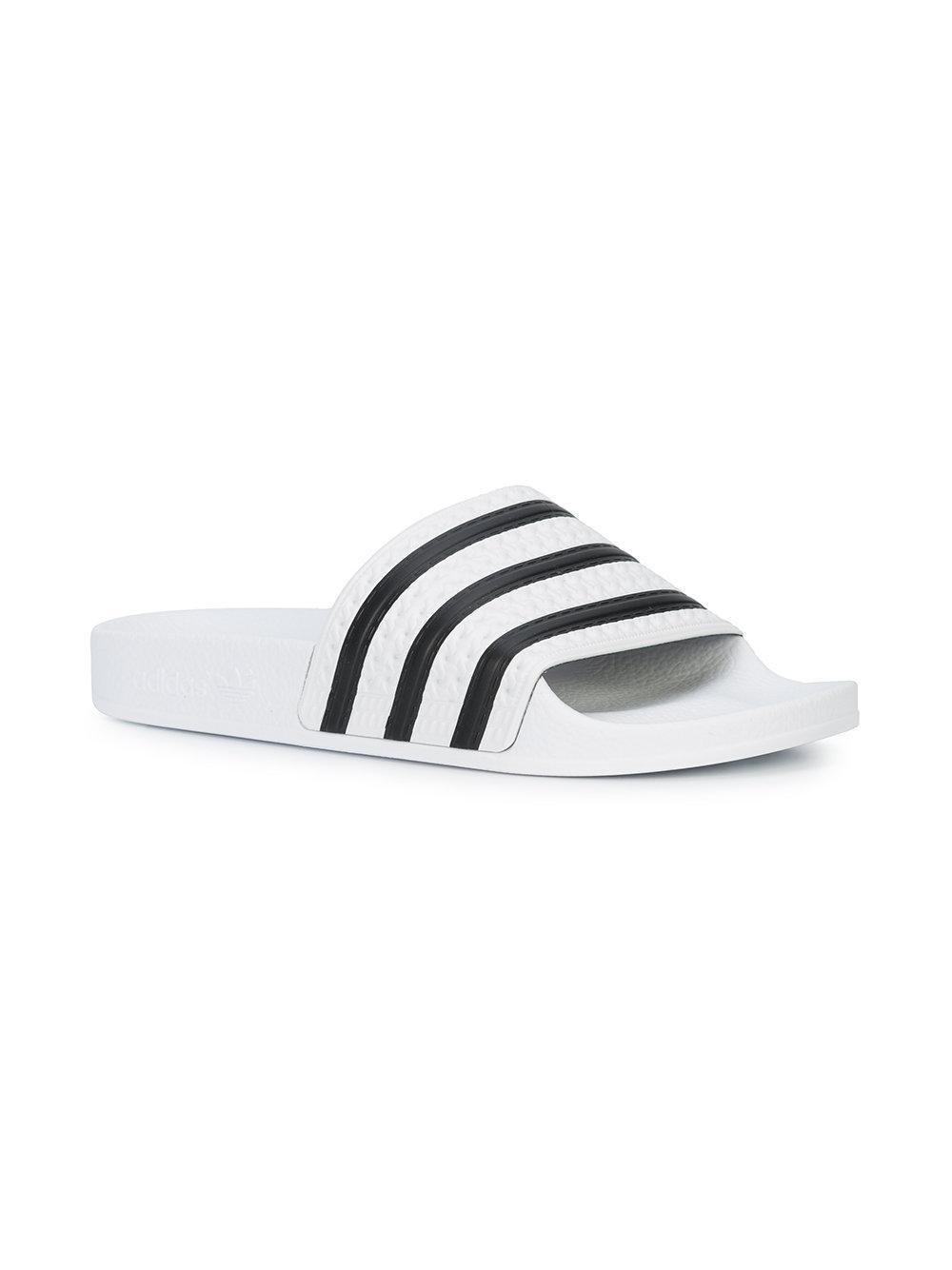 2cae1cb36303 Lyst - adidas Originals Adilette Stripe Slides in White for Men