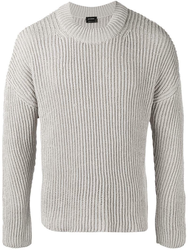 f40b86e3136 Jil Sander Chunky Knit Sweater in Gray for Men - Lyst