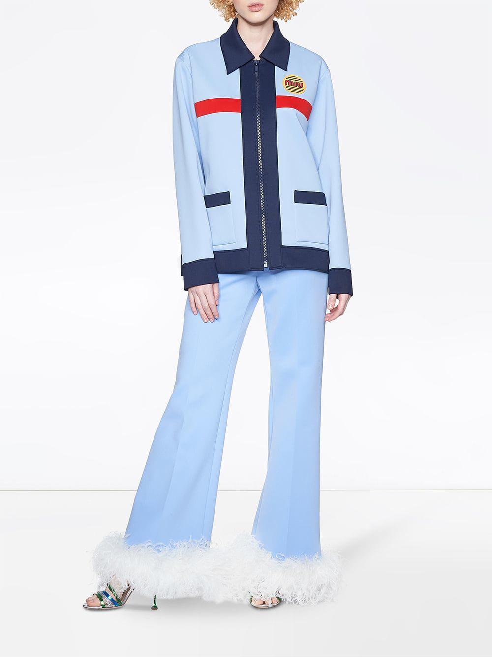 5945d2bacf12 Miu Miu Blue Techno Jersey Jacket in Blue - Lyst