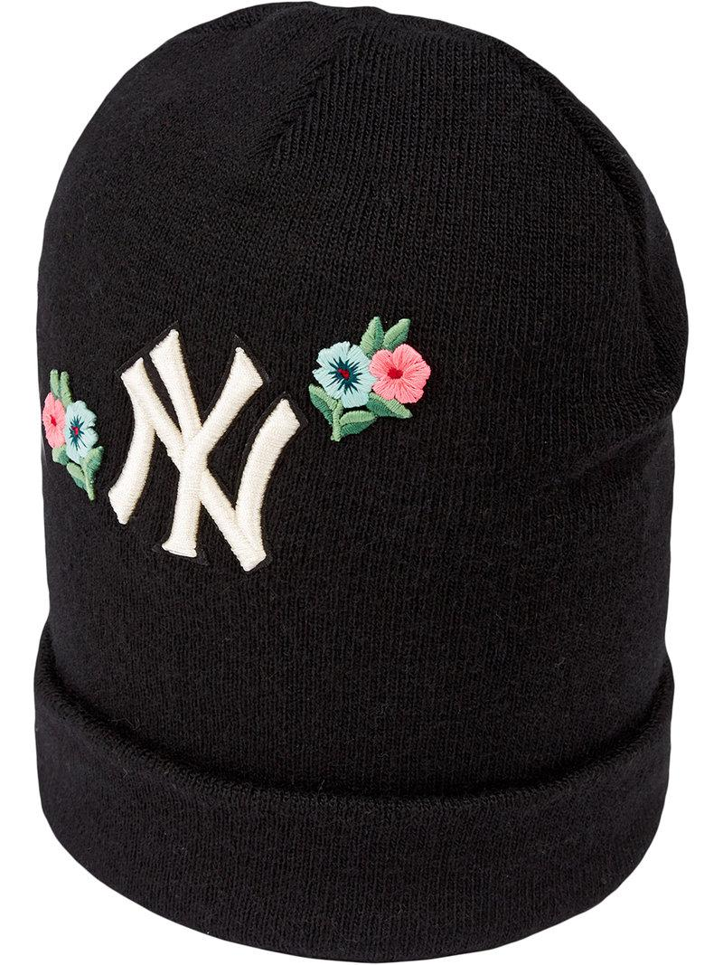 0709cbe9e00 Gucci Wool Hat With Ny Yankeestm Patch in Black - Save 9% - Lyst