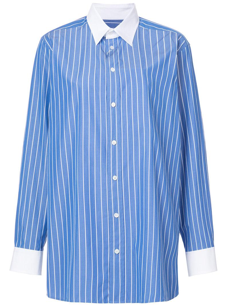 Mm6 By Maison Margiela Woman Striped Cotton-poplin Shirt Sky Blue Size 42 Maison Martin Margiela Buy Cheap Big Discount Discount Free Shipping Cheap Sale Many Kinds Of zxLR1Nvw