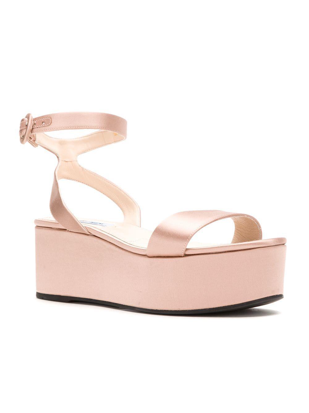 Prada - Pink Open Toe Platform Sandals - Lyst. View fullscreen 8265ddbe66