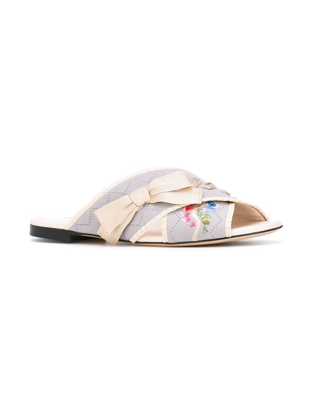 dc03fa7004ae Fendi - Pink Flat Sandals With Embroideries - Lyst. View fullscreen