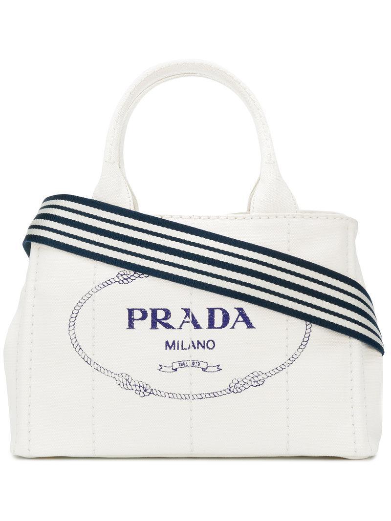 593f9550832b Prada - White Logo Canvas Tote - Lyst. View fullscreen