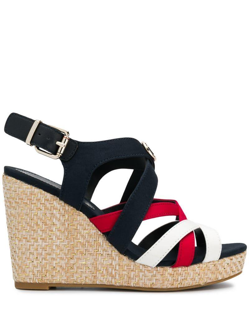 cfbf76986c01a0 Tommy Hilfiger Strappy Wedge Heel Sandals in Blue - Lyst