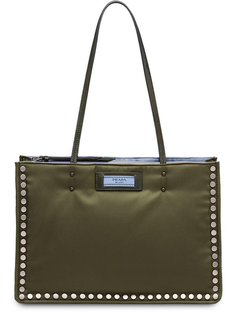 79a4a1ecdbb5 Prada Etiquette Tote Bag in Green - Lyst