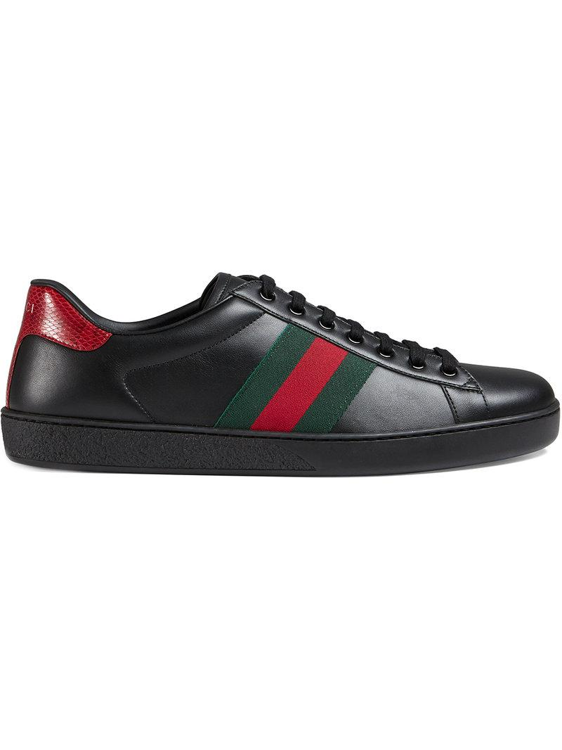 5f063ed7c3c Lyst - Gucci Ace Snake-trimmed Leather Sneakers in Black for Men ...