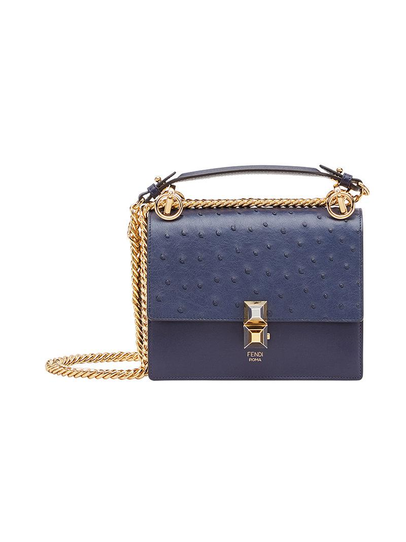 2d4dadeb1784 Fendi Kan I Small Shoulder Bag in Blue - Lyst