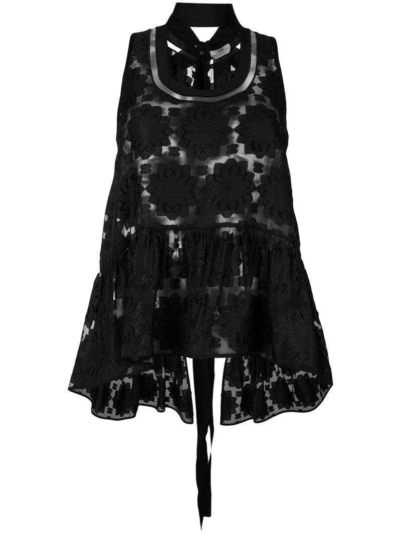 047436552f9db Lyst - Fendi Floral Patch Tank Top in Black