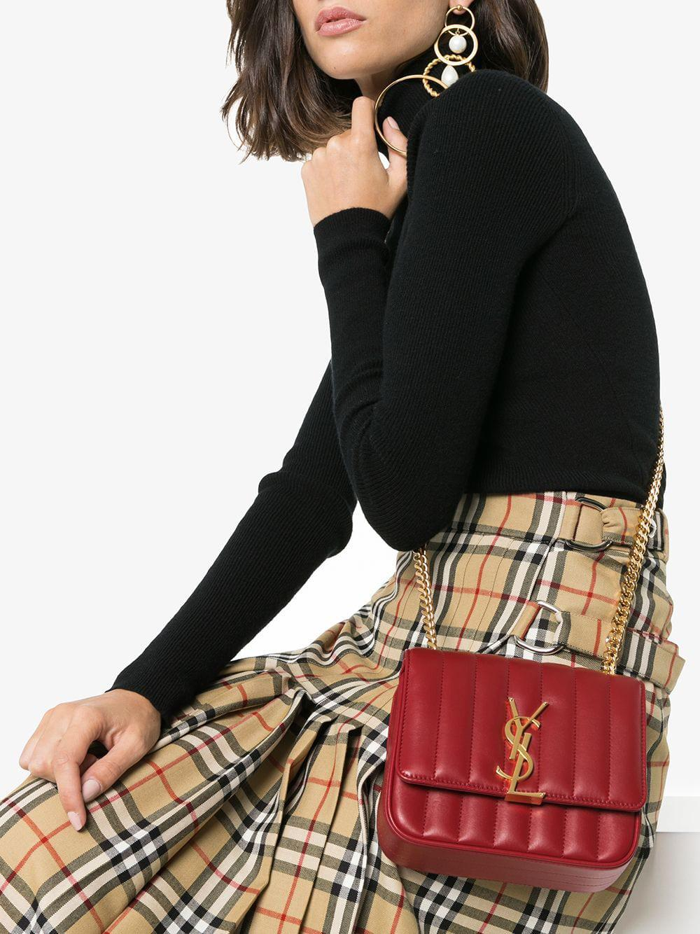 900f9ccfb28b94 Saint Laurent - Red Vicky Small Quilted Leather Bag - Lyst. View fullscreen