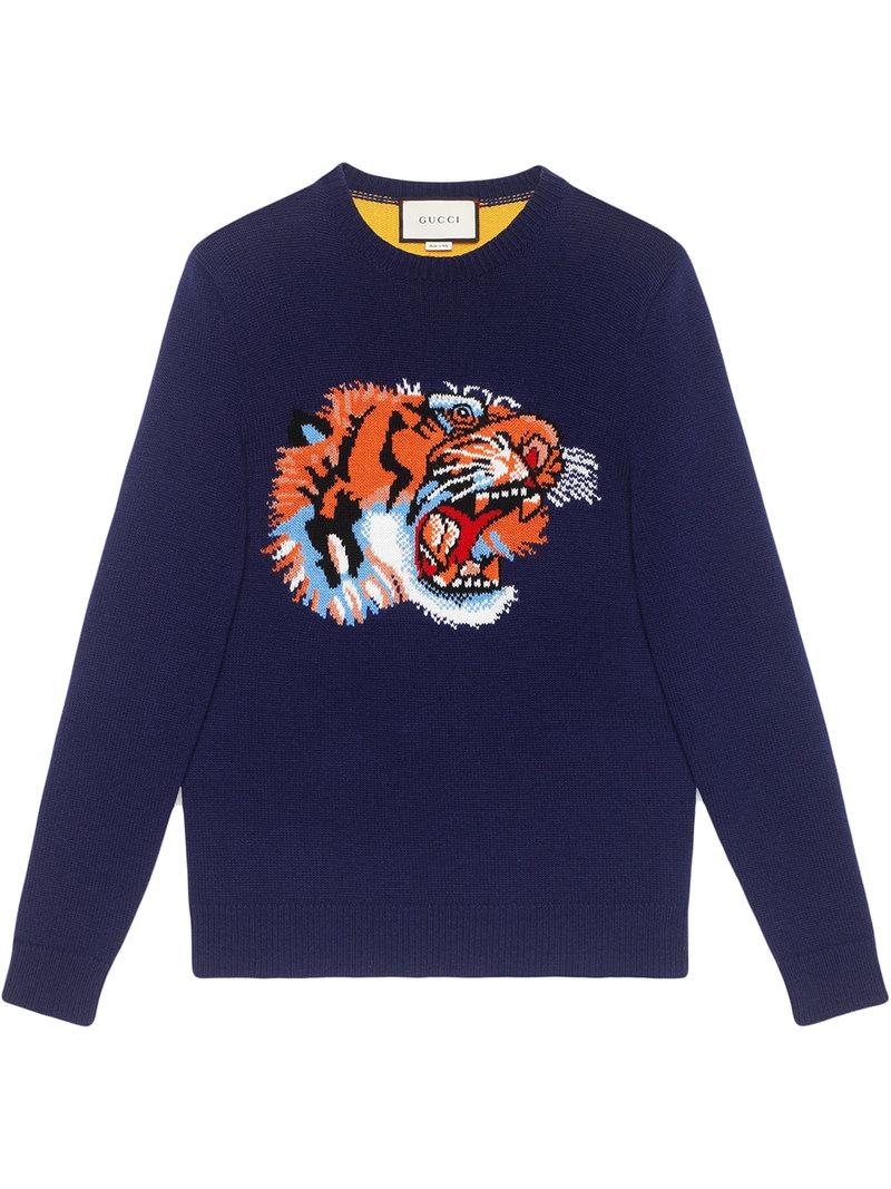 2c453d56d093 Lyst - Pull en laine avec tigre intarsia Gucci pour homme en coloris ...